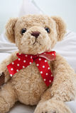 Teddy bear with red polka dot ribbon. Teddy bear sitting with a red polka dot ribbon Royalty Free Stock Photo