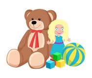 Teddy Bear and Doll Toys Set Vector Illustration. Teddy bear with red ribbon on neck and blonde doll wearing dress, cubes and ball with stripes, Christmas toys Royalty Free Stock Image