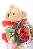 Teddy bear and red rose Stock Images