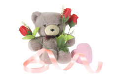 Teddy Bear and Red Roses. On White Background royalty free stock photos