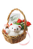 Teddy Bear and Red Roses in Basket. On White Background stock photo