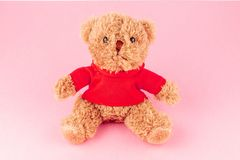 Teddy bear in red shirt isolated on pink background, mock up for card celebration. Teddy bear in red shirt isolated on white, mock up for card celebration stock image