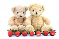 Teddy Bear and red strawberry behind the white background. Stock Photo