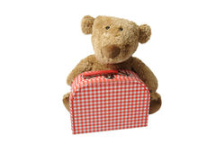 Teddy bear with red and white checked suitcase Stock Photos