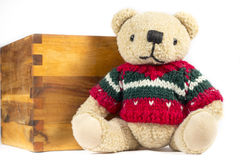 Teddy bear with red wool coat, on white background Royalty Free Stock Photos
