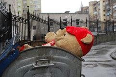 Teddy bear in the refuse bin Stock Image