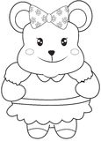 Teddy bear with a ribbon coloring page Royalty Free Stock Images