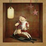 Teddy Bear on the rockin Horse. Beautiful card with Teddy Bear on the wooden rockin Horse Royalty Free Stock Image