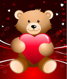 Teddy bear romantic Valentine's Day background. Original  illustration: Teddy bear romantic Valentine's Day design background Stock Photography