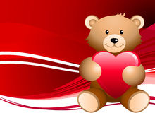 Teddy bear romantic Valentine's Day design background. Gift Royalty Free Stock Photography