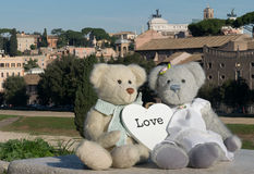 Teddy bear in Rome. Teddy bear loving in Rome Royalty Free Stock Images