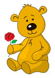 Teddy-bear with a rose flower Royalty Free Stock Images