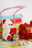 Teddy bear and roses Royalty Free Stock Photography