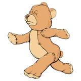 Teddy bear run. Single colorful tteddy bear run on white Royalty Free Stock Photos