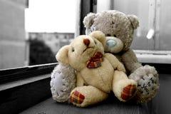 Teddy Bear's Hug. Two teddy bear hugging each other Stock Photo