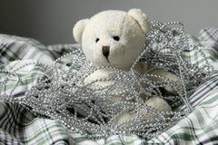 Teddy Bear. SAMSUNG NX500 Teddy bear in the cloth with bead Royalty Free Stock Image