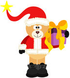 Teddy Bear Santa With Christmas Gift Royalty Free Stock Image