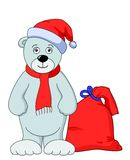 Teddy bear Santa Claus. With a bag of Christmas gifts Royalty Free Stock Image