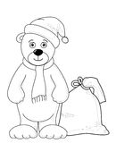 Teddy bear Santa Claus, contours Stock Image