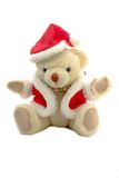 Teddy bear in santa claus dress. A teddy bear in santa claus dress isolated on white background Royalty Free Stock Photo