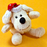 toy dog with Santa hat Royalty Free Stock Photo