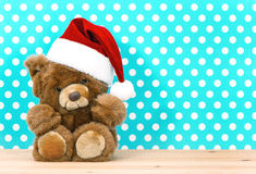 Teddy bear with Santa's hat. christmas decoration Stock Photos