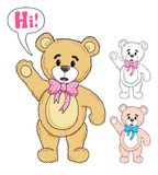 Teddy Bear saying Hi Vector. An Illustration of a cute teddy bear saying Hi in Vector Format Royalty Free Stock Photos