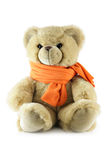 Teddy bear with scarf. Isolated over a white background stock photo