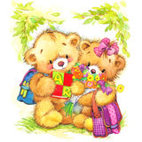 Teddy bear and school background Royalty Free Stock Photography