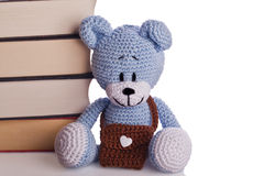Teddy bear with school bag and books Royalty Free Stock Images