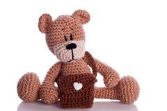 teddy bear with school bag Stock Photo