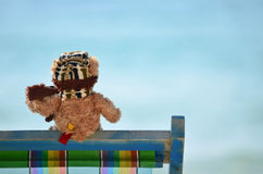 Teddy bear at the sea Royalty Free Stock Images
