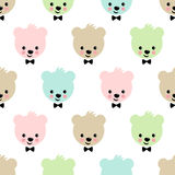 Teddy bear seamless pattern. Cute vector background with boy teddy bear. Royalty Free Stock Image