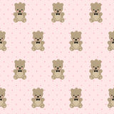 Teddy Bear seamless pattern on pink polka dots background. Royalty Free Stock Image
