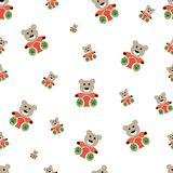 Teddy bear seamless pattern on white. Vector illustration stock illustration