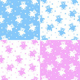 Teddy Bear Seamless Patterns Royalty Free Stock Photography