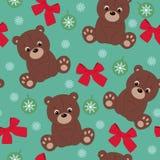 Teddy bear seamless wallpaper. Seasonal blue wallpaper with brown teddy bear Stock Images
