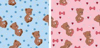 Teddy bear seamless wallpapers. Seamless cute wallpapers with teddy bear. Pink and blue Royalty Free Stock Photo