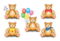 Teddy bear set. Five 3D teddy bears isolated on a white background Royalty Free Stock Photography