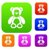 Teddy bear set collection. Teddy bear set icon in different colors isolated vector illustration. Premium collection Royalty Free Stock Images