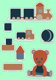 Teddy Bear Set sticker for boy. Wooden toys. Vector illustration for label, price tag, banner, scrap note. Sticker Set Teddy Bear and toys, ball, train. Wooden vector illustration