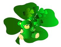 Teddy Bear Shamrocks. Cute Teddy Bear all dressed for St Patricks Day with a bouquet of shamrocks Royalty Free Stock Image