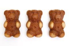 Teddy bear shaped cakes. Isolated on white background stock photography