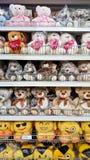 Teddy bear on shelf rack. MELAKA, MALAYSIA - April 13, 2018 : Assorted teddy bear on shelf rack display in the Tesco store stock photography