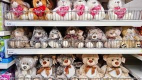 Teddy bear on shelf rack. MELAKA, MALAYSIA - April 13, 2018 : Assorted teddy bear on shelf rack display in the Tesco store royalty free stock image