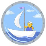 Teddy bear on ship. Window porthole with the review on the ship on which the teddy bear captains floats Stock Image