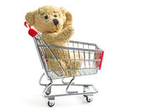Teddy bear with shopping cart Royalty Free Stock Images