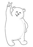 Teddy bear showing victory, contours. Teddy bear standing and showing victory sign, contours Royalty Free Stock Photography
