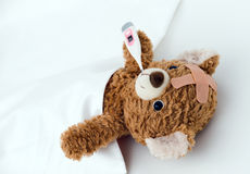 Teddy bear is sick Stock Photo