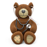 Teddy bear is sick. Teddy bear with stethoscope, plaster and thermometer isolated on white background 3D rendering Royalty Free Stock Images